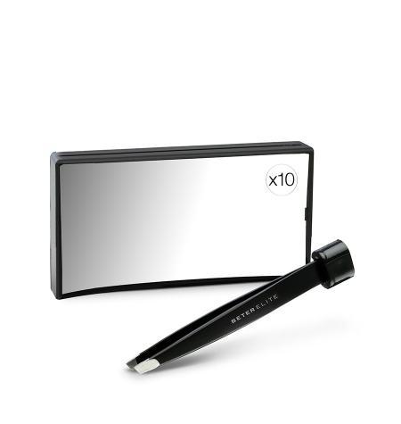 Espejo rectangular de aumento x 10 con pinza incorporada