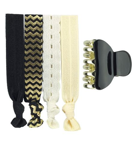 Black & gold hair ornaments combination