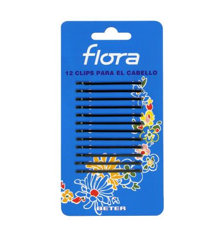12 CLIPS FLORA NEGRO