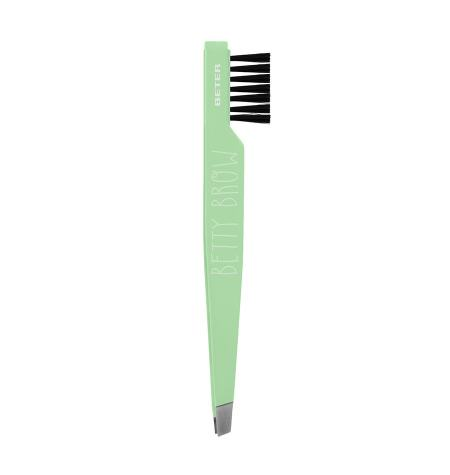 Betty Brow Slanted tip tweezers, with brush