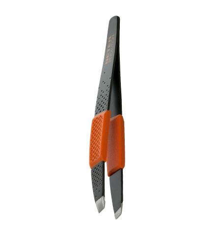 Slanted tip tweezers, with grip