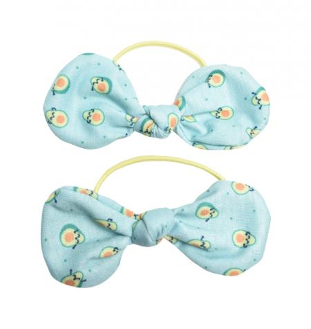 Elastic hairbands with a bow and avocado pattern