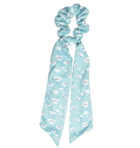Headscarf-style scrunchie with cloud pattern