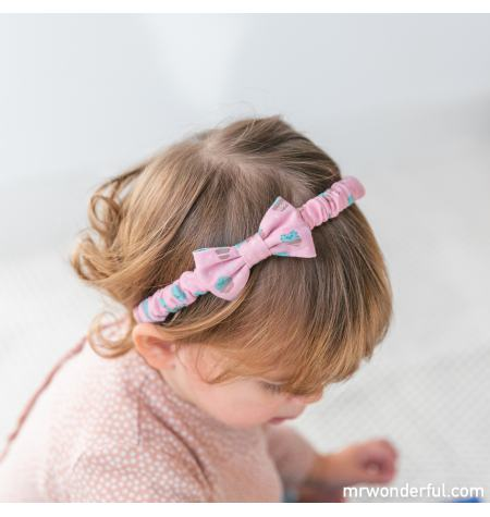 Headband with bow and cactus pattern