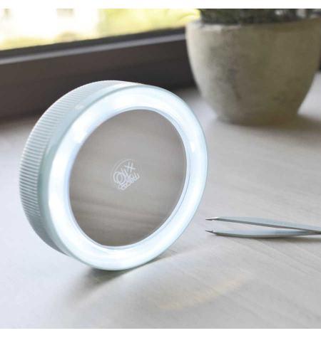 Espejo doble con pinza de depilar y luz LED x10
